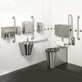 H&L Armourlight Stainless Steel Exposed Cistern Doc M Pack with Manual Controls